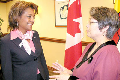 May 30, Iqaluit. Governor General Michaëlle Jean bonding with Nunavut Premier Eva Aariak at a press conference.